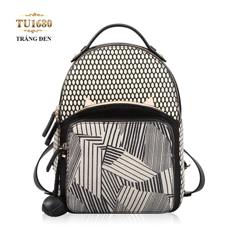 Balo da cao cấp họa tiết đen trắng thời trang TU1680