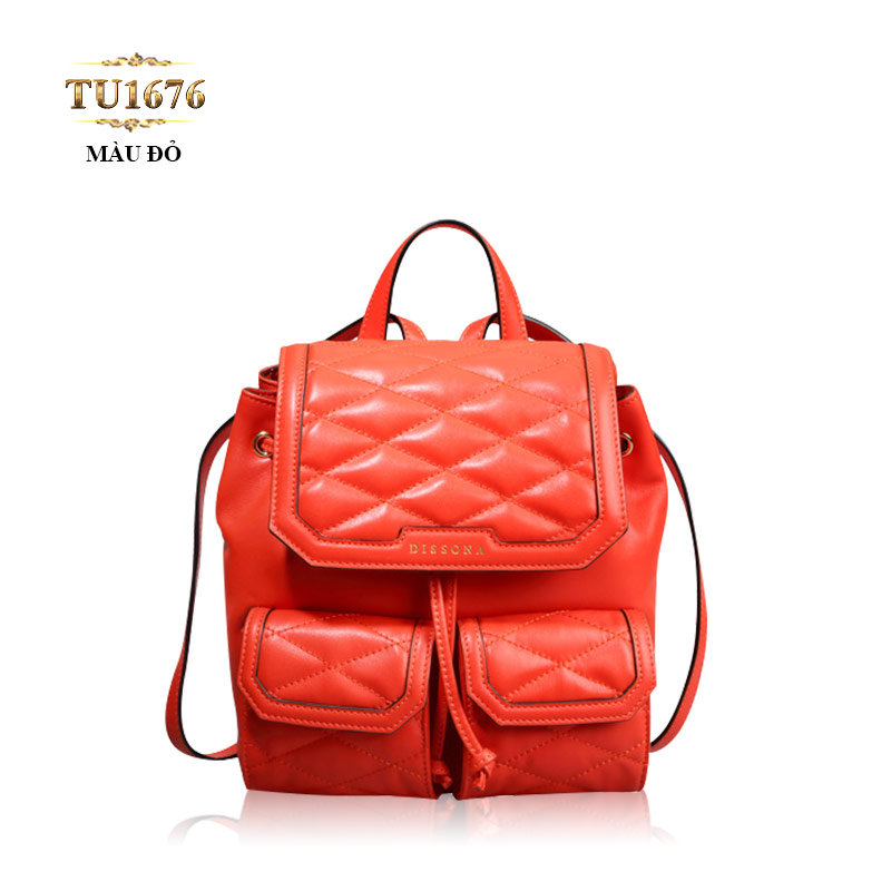 Balo da Dissona quả trám 2 túi trước cao cấp TU1676 (Màu đỏ)