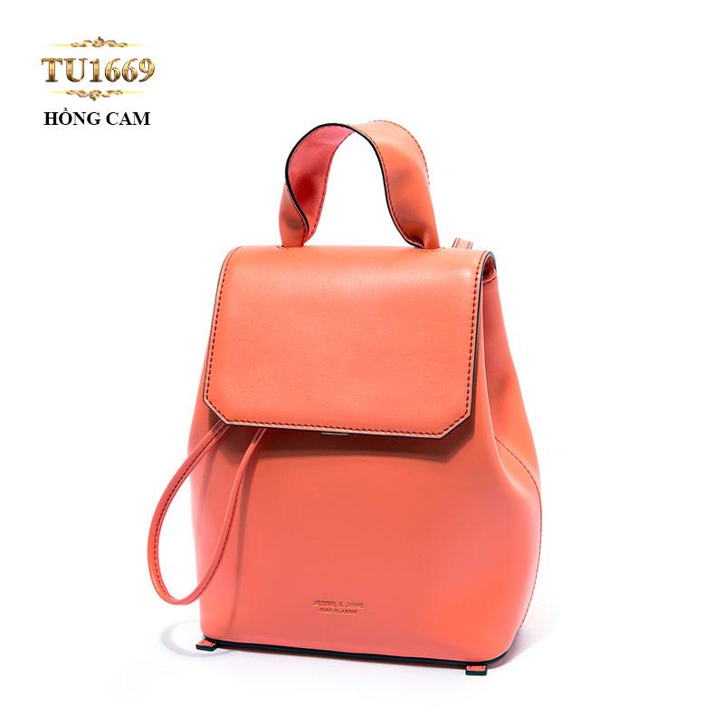 Balo da JESSIE&JANE cao cấp màu hồng cam thời trang TU1669