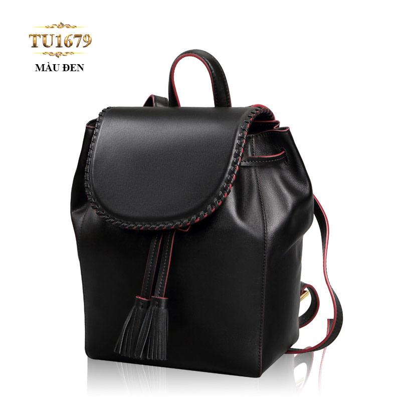 Balo da màu đen nắp viền thời trang TU1679