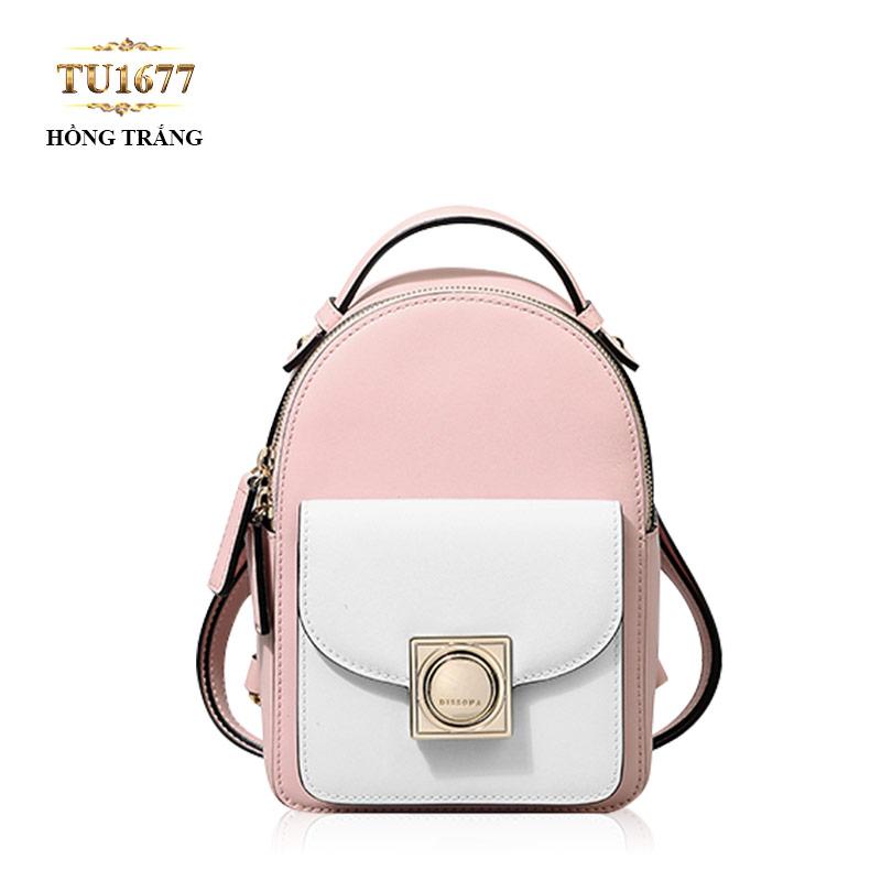 Balo mini Dissona khóa kim loại vuông cao cấp TU1677 (Hồng trắng)