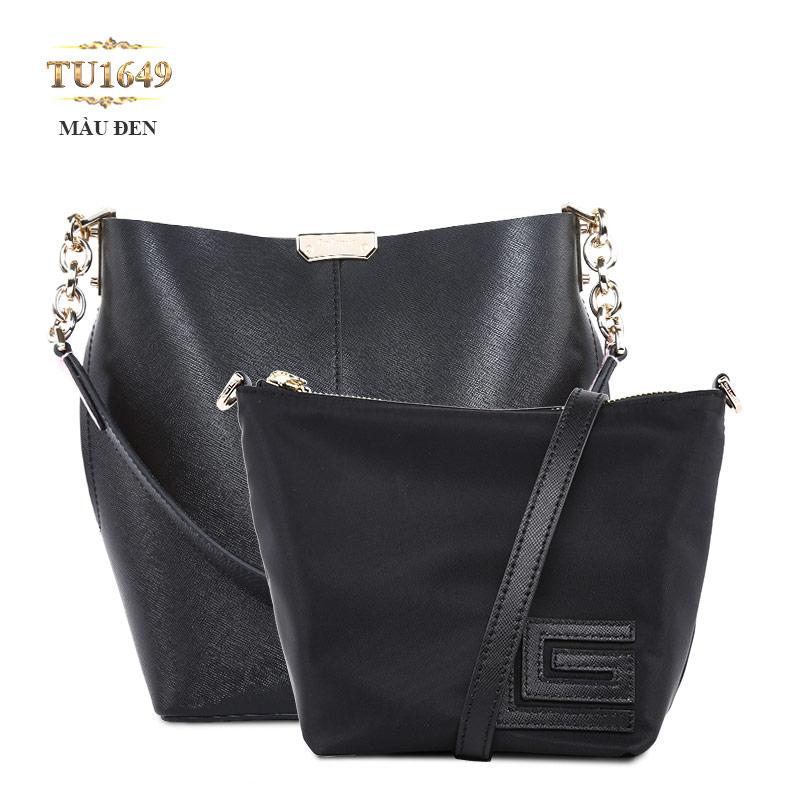 Set 2 túi xách GL cao cấp phối quai xích thời trang TU1649 (Màu đen)