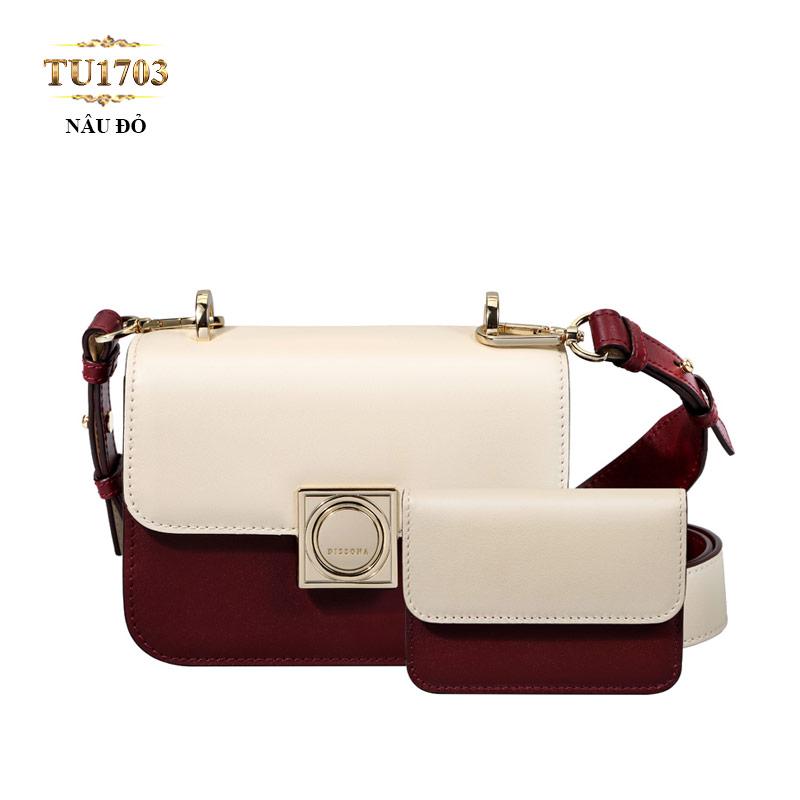 Set 2 túi xách+ví tiền Dissona phối màu thời trang TU1703 (Nâu đỏ)