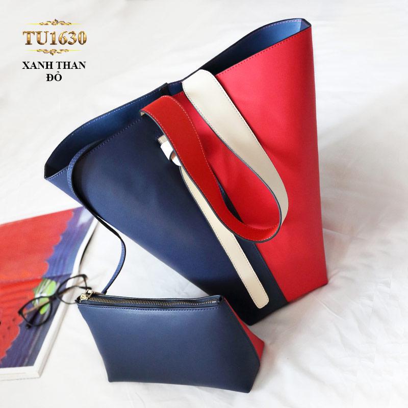 Túi bucket cao cấp quai xách bản to thời trang TU1630 (Xanh than đỏ)