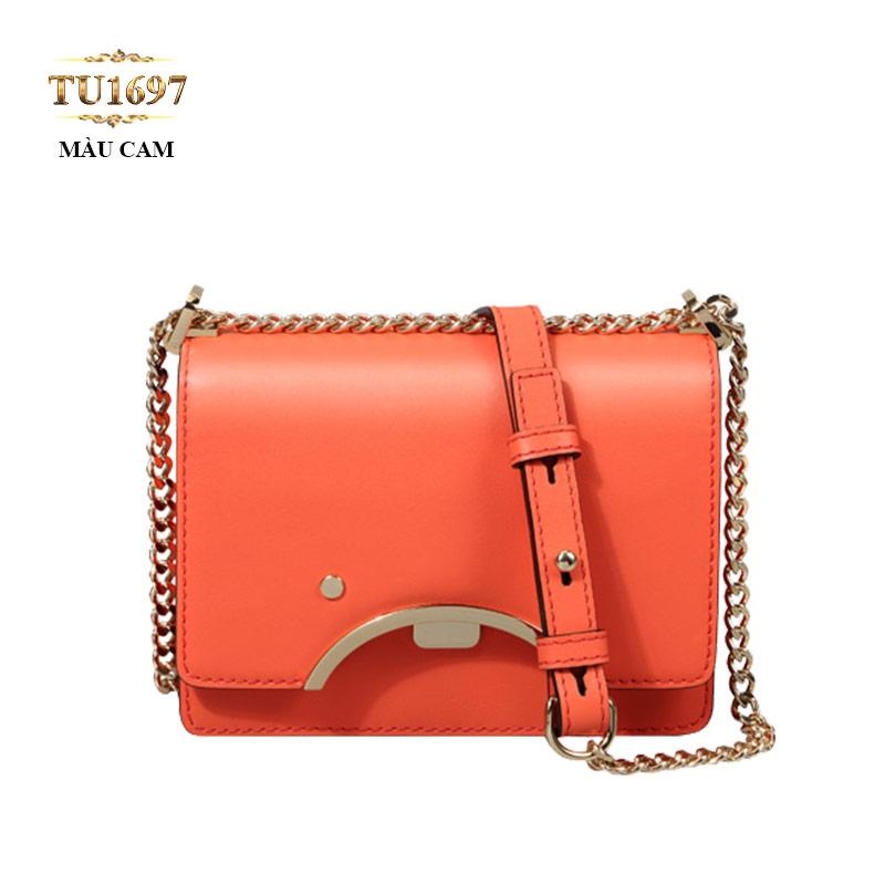 Túi da đeo 1 dây xích nắp viền kim loại cao cấp TU1697 (Màu cam)