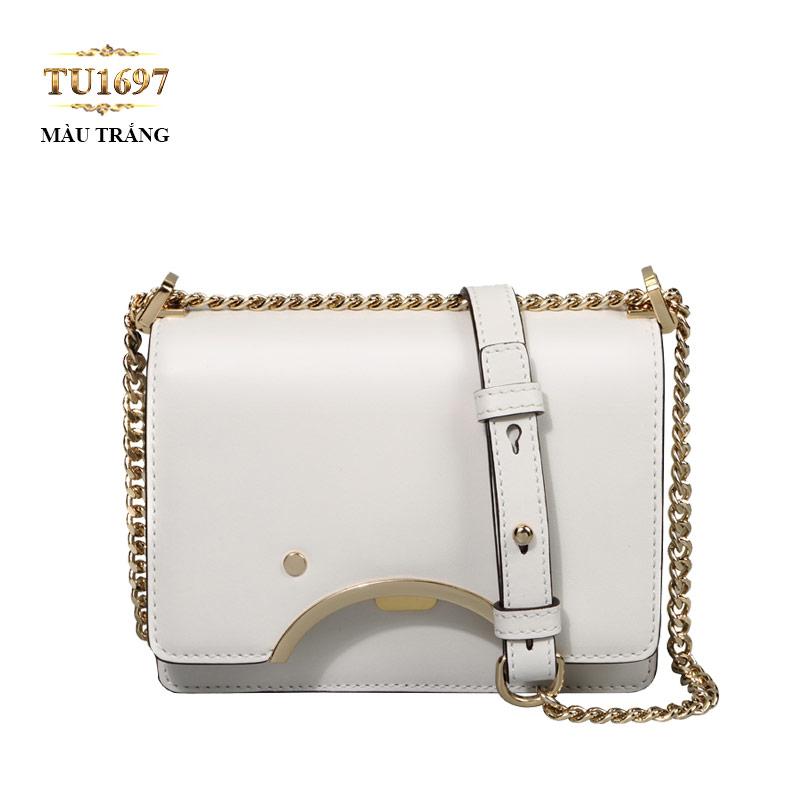 Túi da đeo 1 dây xích nắp viền kim loại cao cấp TU1697 (Màu trắng)