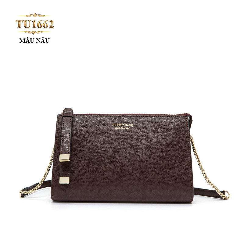 Túi đeo JESSIE&JANE mini dây xích cao cấp TU1662 (Màu nâu)
