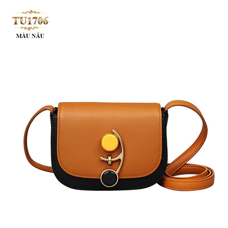 Túi đeo mini nắp khóa cài vàng-đen độc đáo TU1706