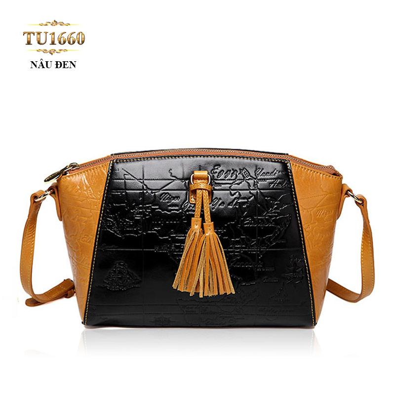 Túi xách da họa tiết phối màu đen nâu cao cấp TU1660