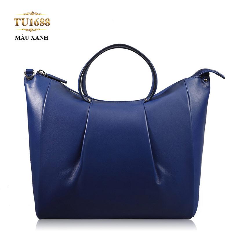 Túi xách da khóa kéo trên gập thân màu xanh cao cấp TU1688