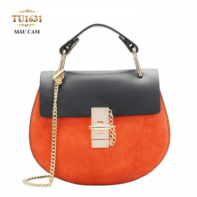 Túi xách đeo 1 dây xích dáng hến cao cấp TU1631 (Màu cam)
