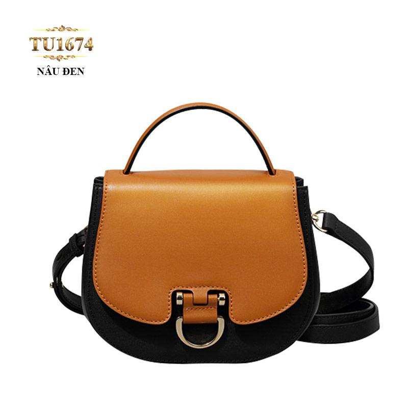 Túi xách đeo dáng hến 2 màu nâu đen cao cấp TU1674