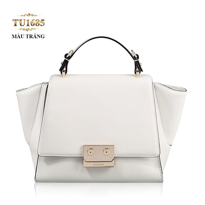 Túi xách đeo Dissona khóa bấm kim loại cao cấp TU1685 (Màu trắng)