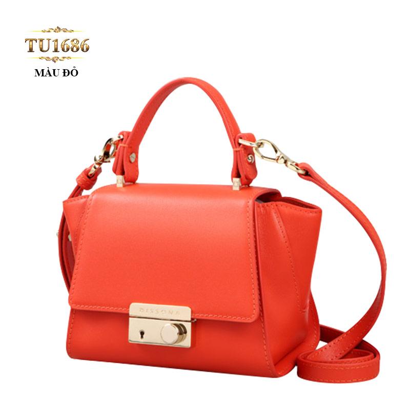 Túi xách đeo Dissona màu đỏ cao cấp nắp khóa kim loại TU1686