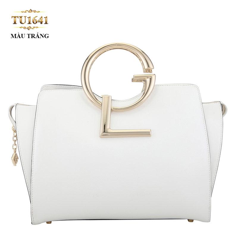 Túi xách đeo GL màu trắng dáng hộp chữ nhật cao cấp TU1641 (Size lớn)
