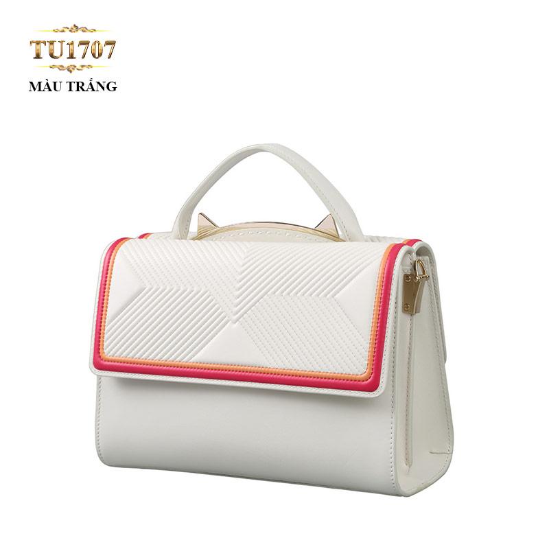 Túi xách đeo màu trắng viền đỏ cam thời trang TU1707