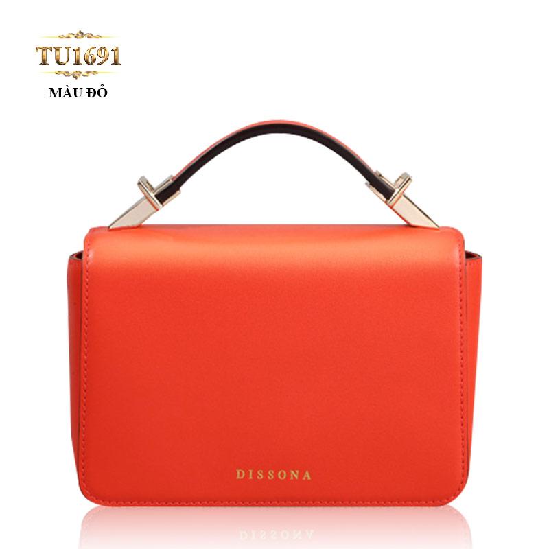 Túi xách đeo mini Dissona nắp trước cao cấp TU1691 (Màu đỏ)