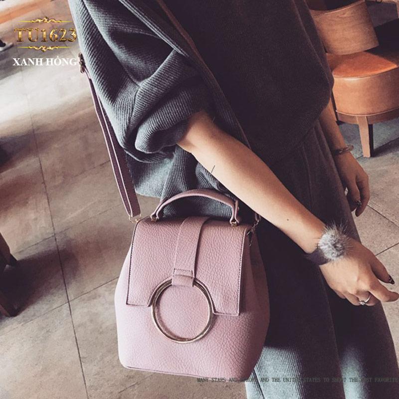 Túi xách đeo thời trang móc kim loại tròn TU1623 (Màu hồng)