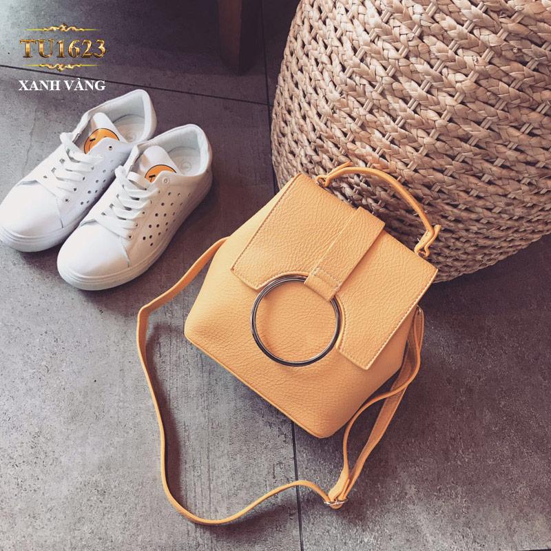 Túi xách đeo thời trang móc kim loại tròn TU1623 (Màu vàng)