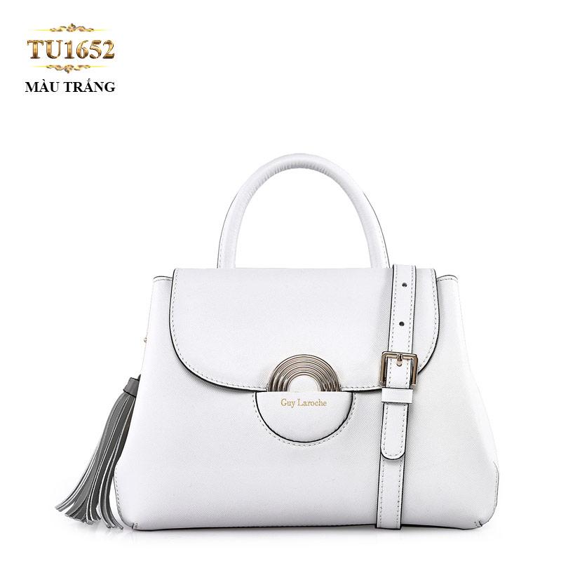 Túi xách GUY LAROCHE cao cấp móc tua rua sành điệu TU1652 (Màu trắng)