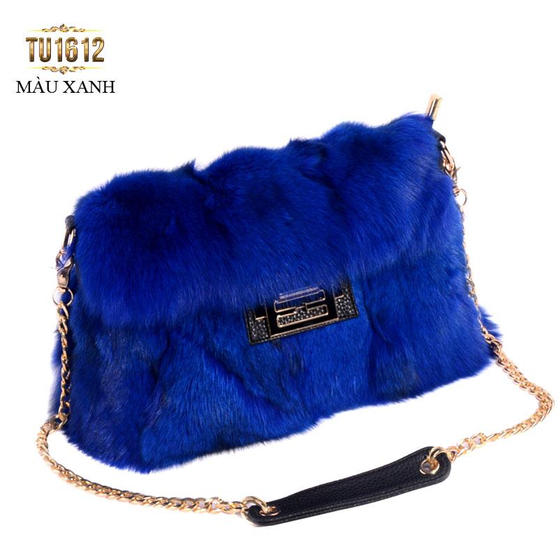 Túi xách lông khóa H thời trang TU1612 (Màu xanh)