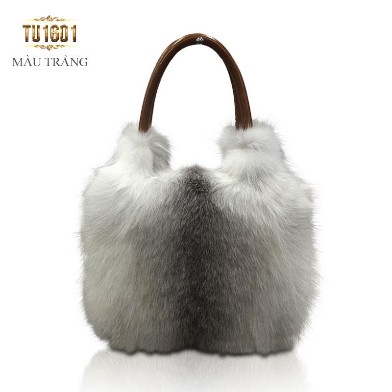 Túi xách lông thú nk cao cấp TU1601 (Màu trắng)