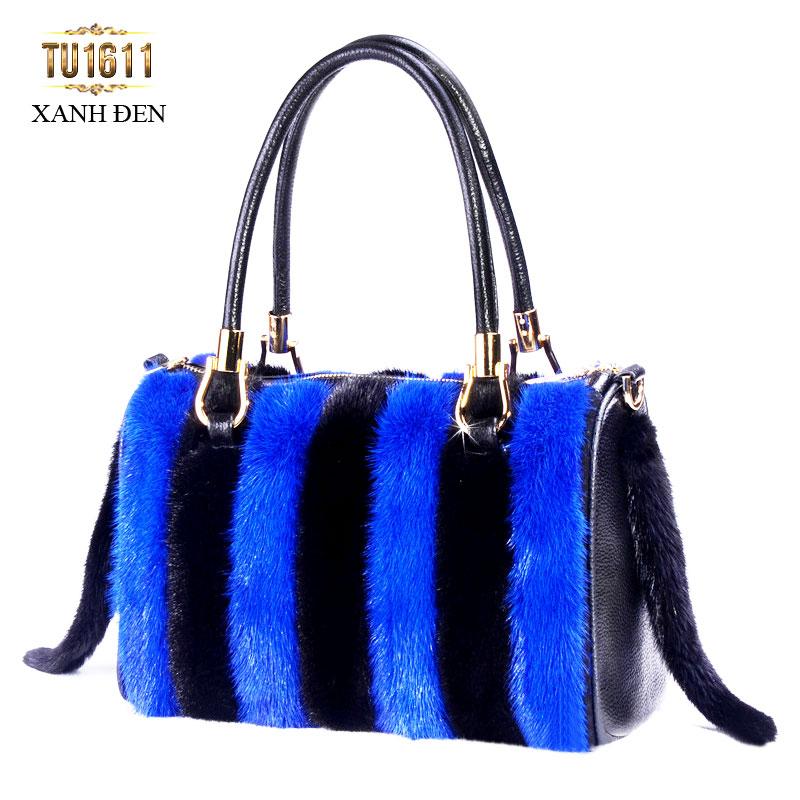 Túi xách lông phối màu nhập khẩu cao cấp TU1611( Xanh đen)