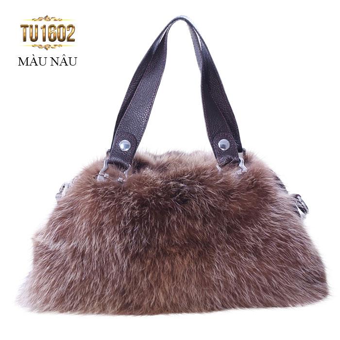 Túi xách lông thú quai da nhập khẩu cao cấp TU1602 (Màu nâu)