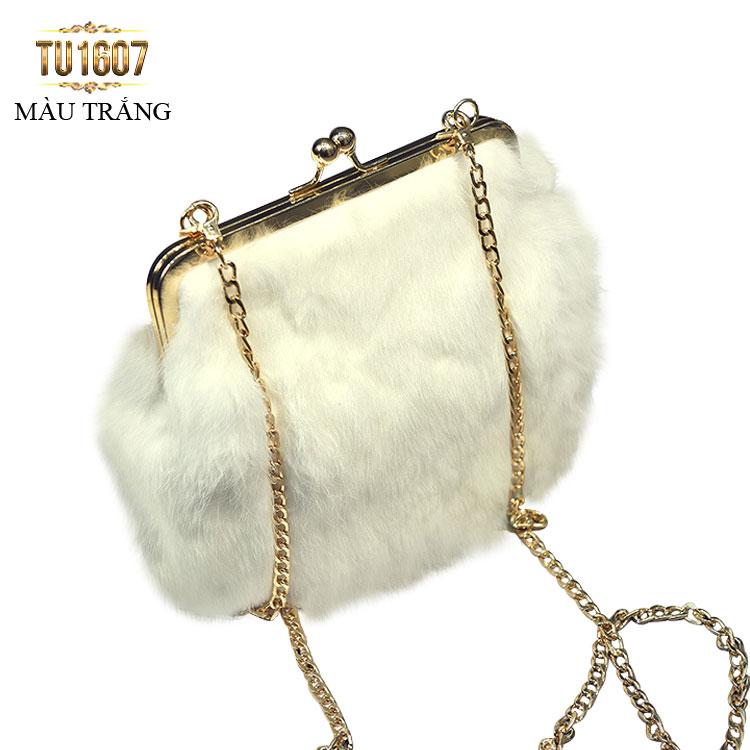 Túi xách lông thú thời thượng TU1607 (Màu trắng)