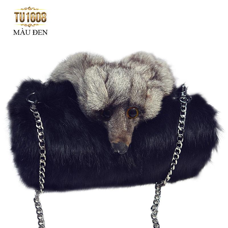 Túi xách lông thú thời trang TU1608 (Màu đen)