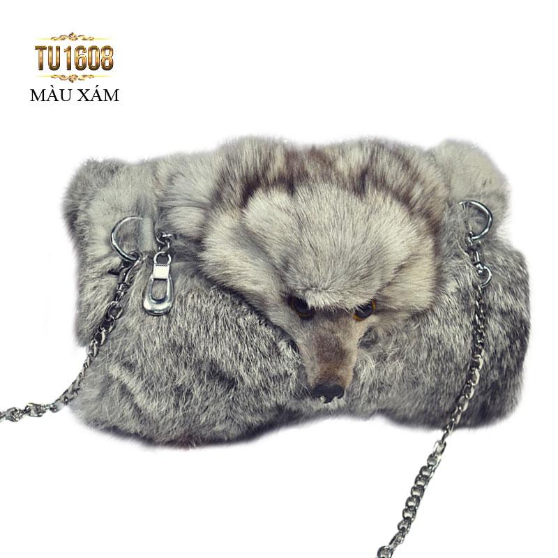 Túi xách lông thú thời trang TU1608 (Màu xám)
