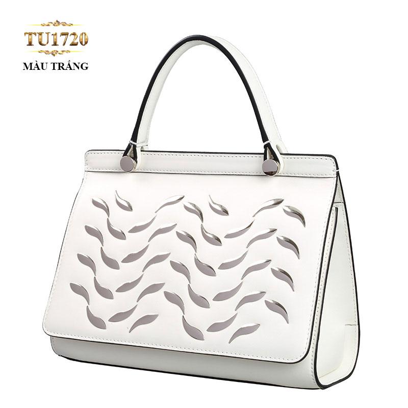 Túi xách trắng cao cấp cotout hoa văn thân trước TU1720